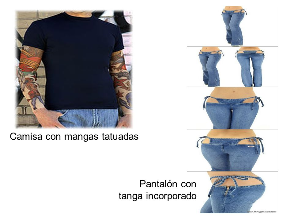 Camisa con mangas tatuadas Pantalón con tanga incorporado