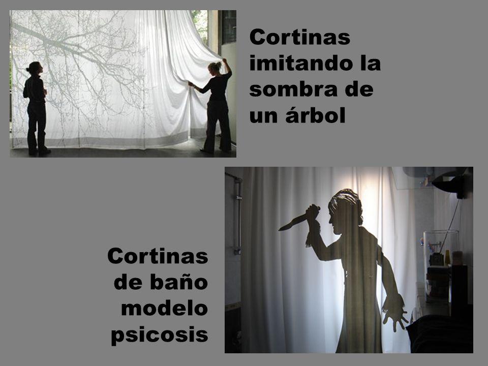 Cortinas imitando la sombra de un árbol Cortinas de baño modelo psicosis