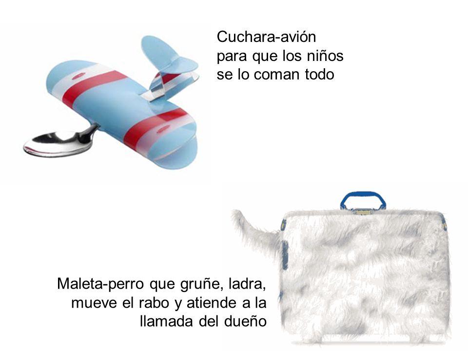 Cuchara-avión para que los niños se lo coman todo Maleta-perro que gruñe, ladra, mueve el rabo y atiende a la llamada del dueño