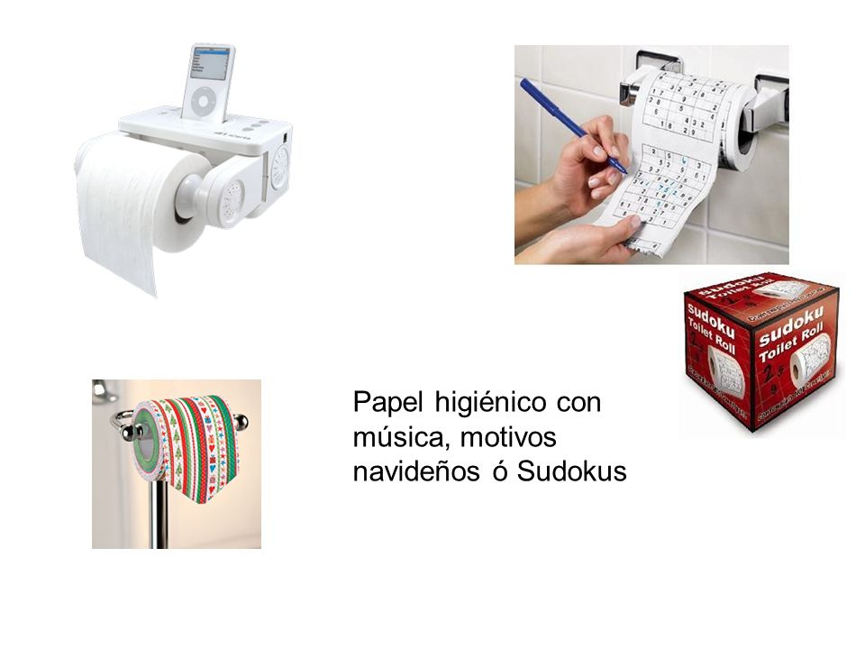 Papel higiénico con música, motivos navideños ó Sudokus