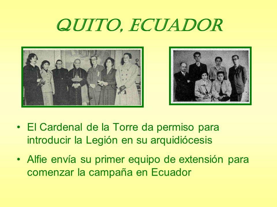 Enviados Maria Legionis, Marzo de 1954 Cinco Enviados: Alfie Lambe desde Colombia a Ecuador Joaquina Lucas desde Perú a Brasil Dos a Cuba Uno al Oeste de Africa