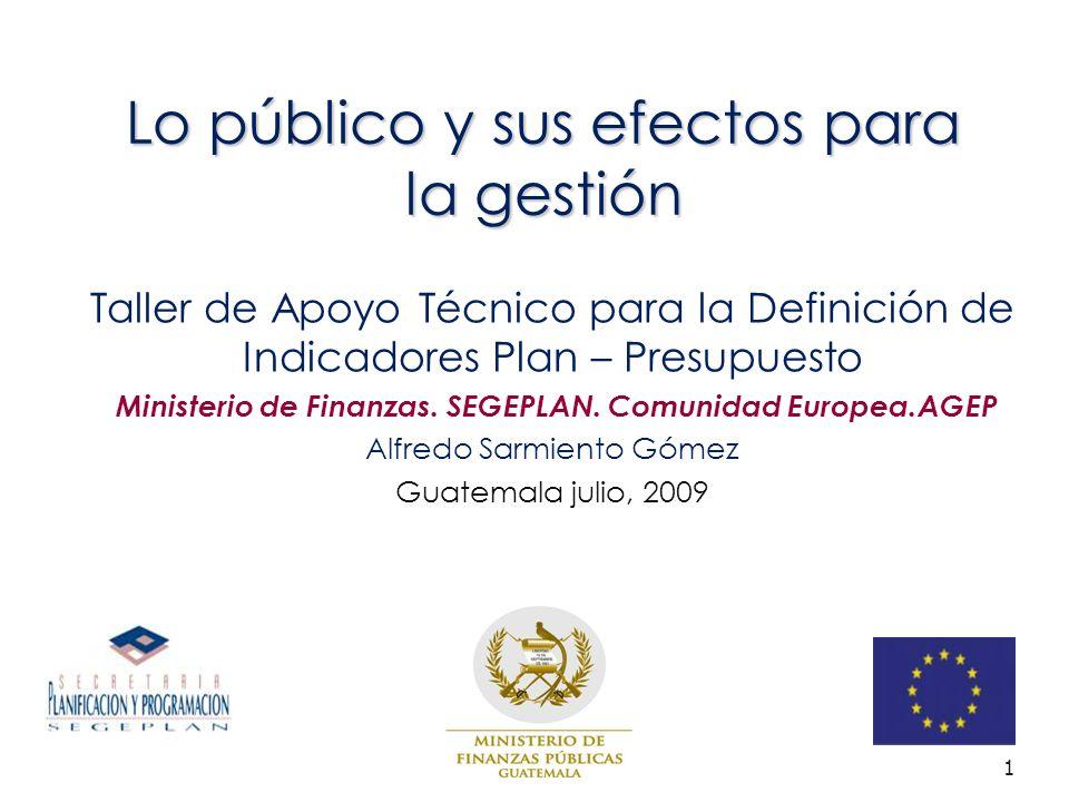 1 Lo público y sus efectos para la gestión Taller de Apoyo Técnico para la Definición de Indicadores Plan – Presupuesto Ministerio de Finanzas.