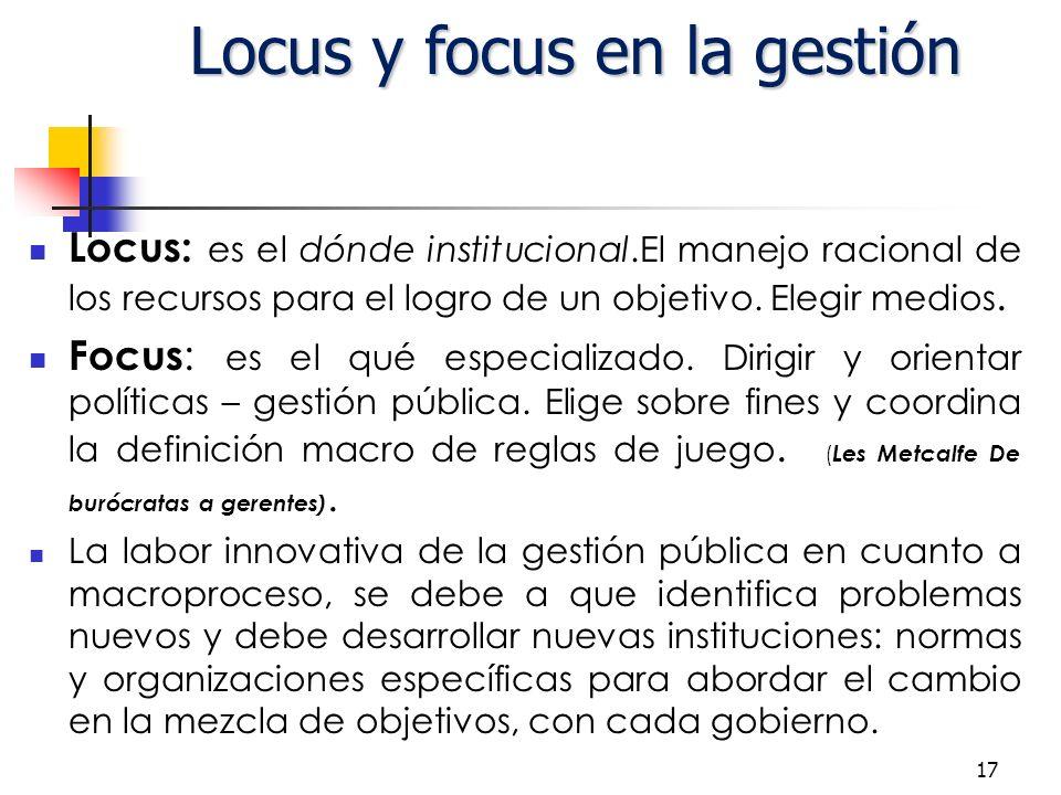 17 Locus: es el dónde institucional.El manejo racional de los recursos para el logro de un objetivo.
