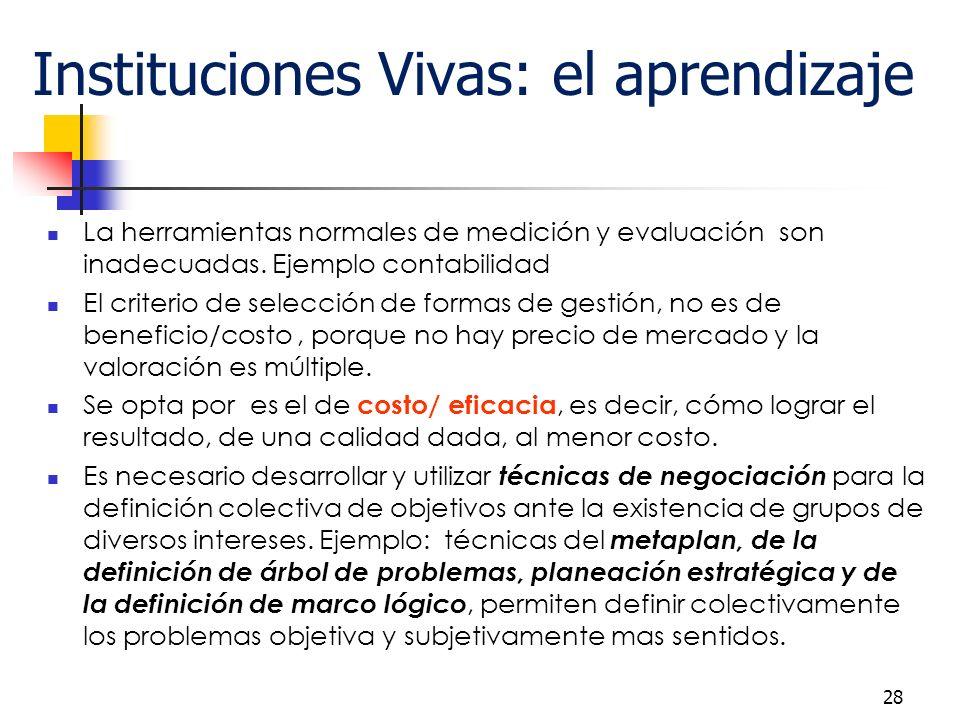 28 Instituciones Vivas: el aprendizaje La herramientas normales de medición y evaluación son inadecuadas.