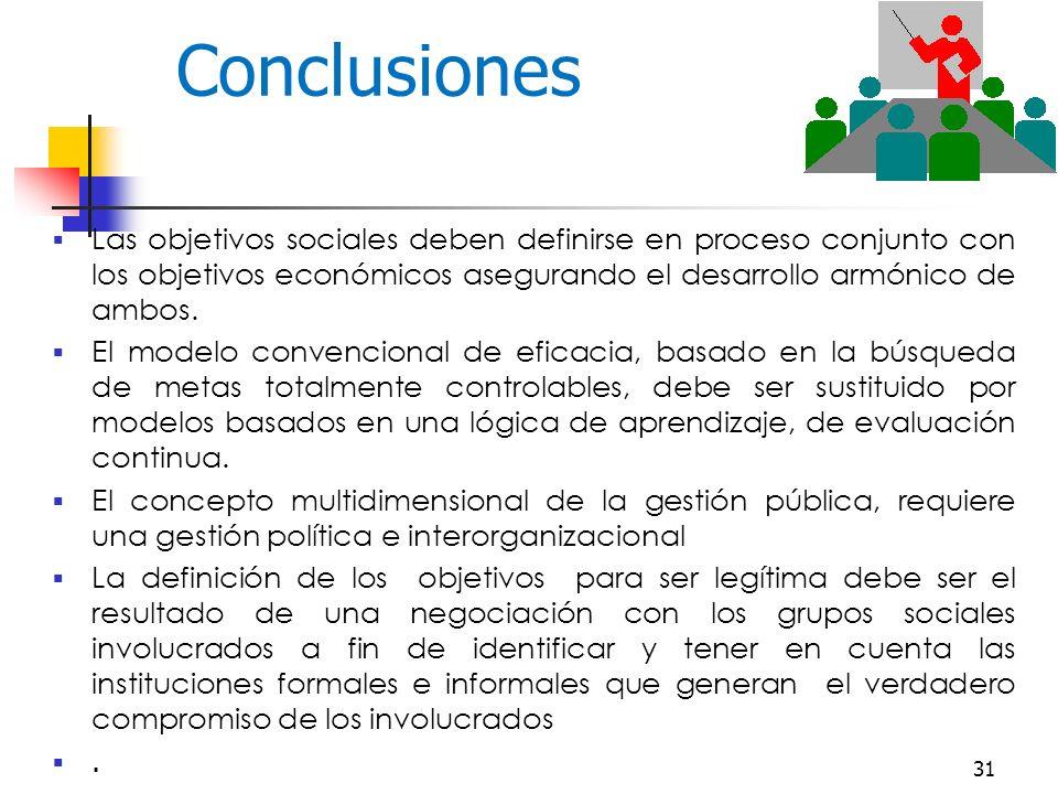 31 Conclusiones Las objetivos sociales deben definirse en proceso conjunto con los objetivos económicos asegurando el desarrollo armónico de ambos.