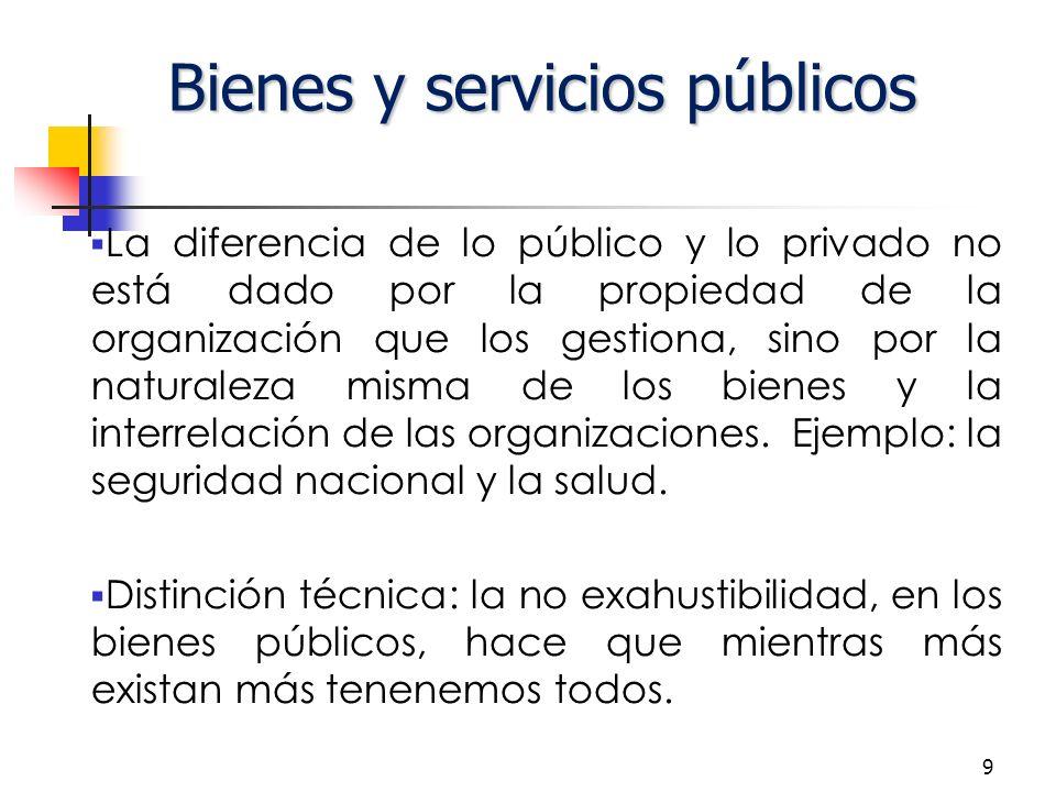 9 Bienes y servicios públicos La diferencia de lo público y lo privado no está dado por la propiedad de la organización que los gestiona, sino por la naturaleza misma de los bienes y la interrelación de las organizaciones.