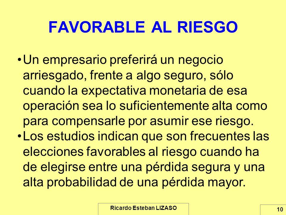 Ricardo Esteban LIZASO 10 FAVORABLE AL RIESGO Un empresario preferirá un negocio arriesgado, frente a algo seguro, sólo cuando la expectativa monetari