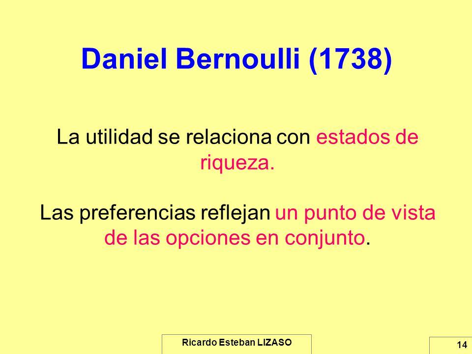 Ricardo Esteban LIZASO 14 Daniel Bernoulli (1738) La utilidad se relaciona con estados de riqueza. Las preferencias reflejan un punto de vista de las