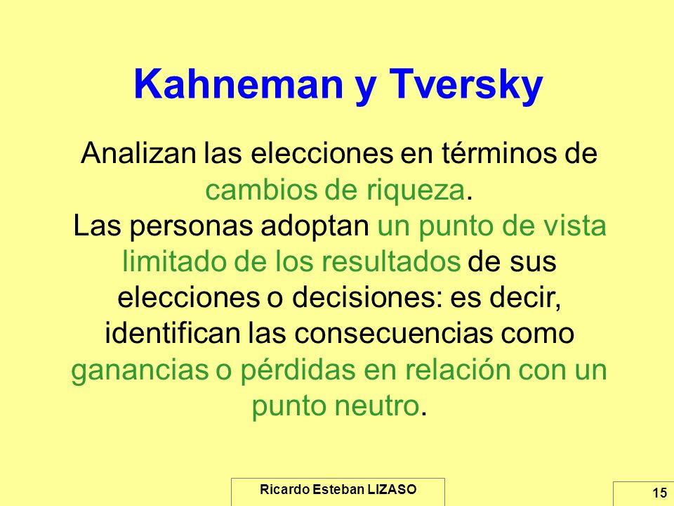 Ricardo Esteban LIZASO 15 Kahneman y Tversky Analizan las elecciones en términos de cambios de riqueza. Las personas adoptan un punto de vista limitad