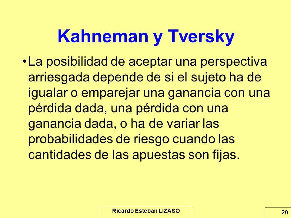 Ricardo Esteban LIZASO 20 Kahneman y Tversky La posibilidad de aceptar una perspectiva arriesgada depende de si el sujeto ha de igualar o emparejar un