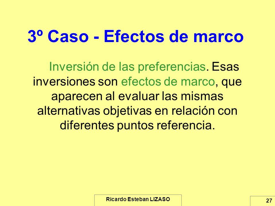 Ricardo Esteban LIZASO 27 3º Caso - Efectos de marco Inversión de las preferencias. Esas inversiones son efectos de marco, que aparecen al evaluar las