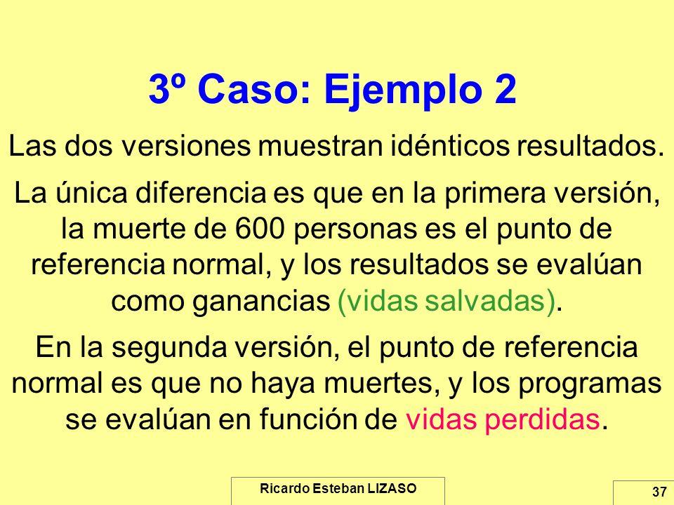 Ricardo Esteban LIZASO 37 3º Caso: Ejemplo 2 Las dos versiones muestran idénticos resultados. La única diferencia es que en la primera versión, la mue