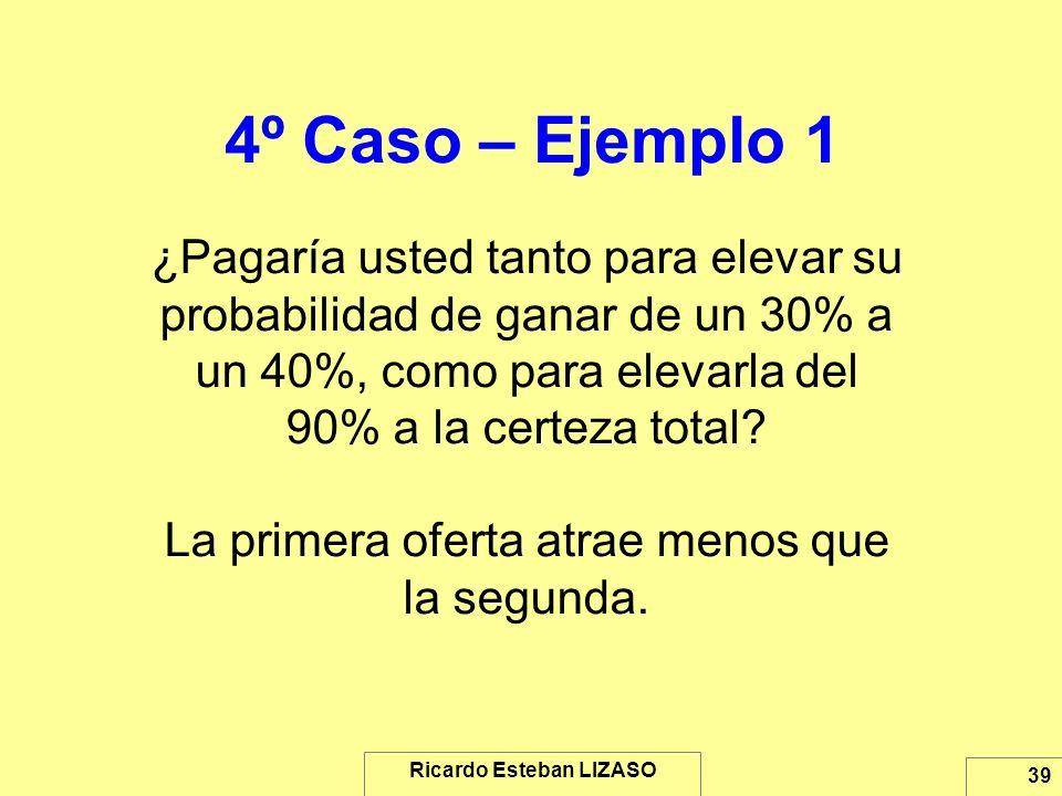 Ricardo Esteban LIZASO 39 4º Caso – Ejemplo 1 ¿Pagaría usted tanto para elevar su probabilidad de ganar de un 30% a un 40%, como para elevarla del 90%