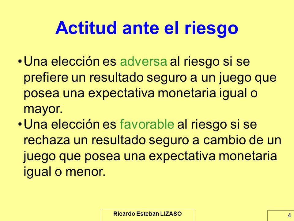Ricardo Esteban LIZASO 4 Actitud ante el riesgo Una elección es adversa al riesgo si se prefiere un resultado seguro a un juego que posea una expectat