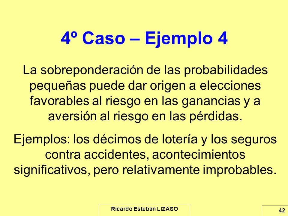 Ricardo Esteban LIZASO 42 4º Caso – Ejemplo 4 La sobreponderación de las probabilidades pequeñas puede dar origen a elecciones favorables al riesgo en