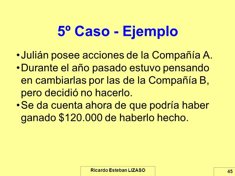 Ricardo Esteban LIZASO 45 5º Caso - Ejemplo Julián posee acciones de la Compañía A. Durante el año pasado estuvo pensando en cambiarlas por las de la