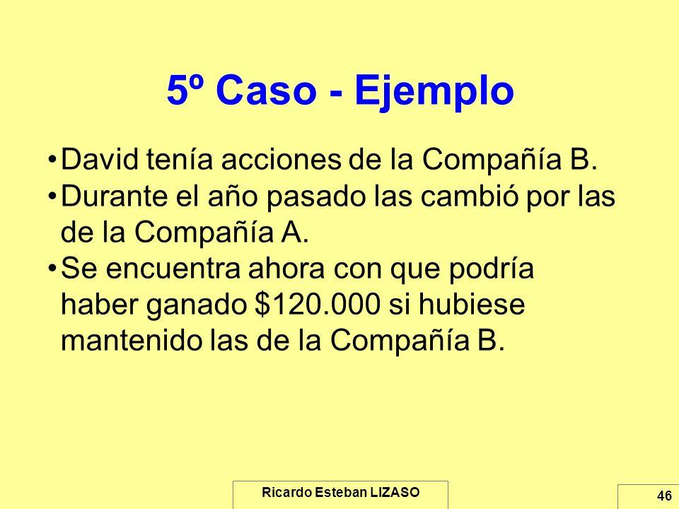 Ricardo Esteban LIZASO 46 5º Caso - Ejemplo David tenía acciones de la Compañía B. Durante el año pasado las cambió por las de la Compañía A. Se encue