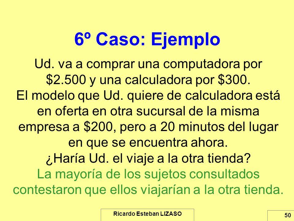 Ricardo Esteban LIZASO 50 6º Caso: Ejemplo Ud. va a comprar una computadora por $2.500 y una calculadora por $300. El modelo que Ud. quiere de calcula