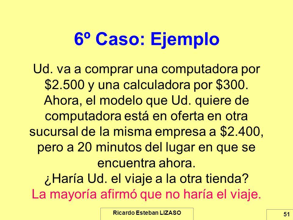 Ricardo Esteban LIZASO 51 6º Caso: Ejemplo Ud. va a comprar una computadora por $2.500 y una calculadora por $300. Ahora, el modelo que Ud. quiere de