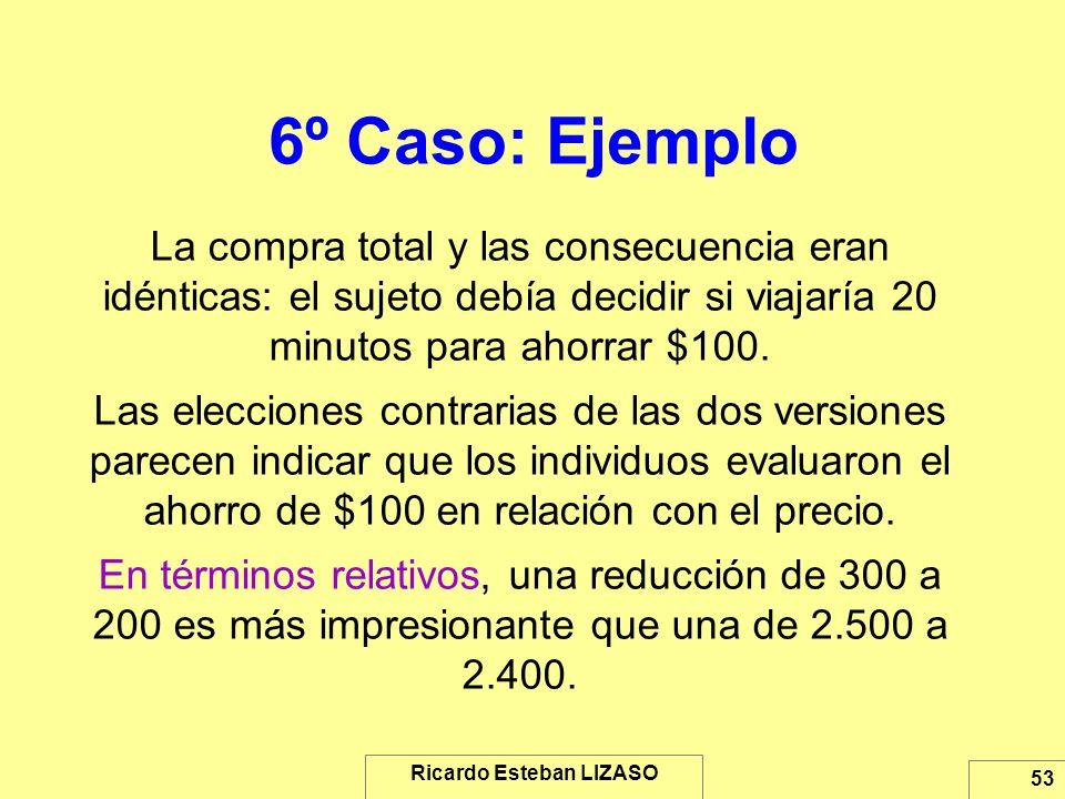 Ricardo Esteban LIZASO 53 6º Caso: Ejemplo La compra total y las consecuencia eran idénticas: el sujeto debía decidir si viajaría 20 minutos para ahor
