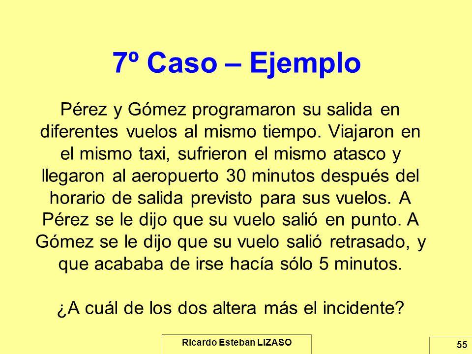 Ricardo Esteban LIZASO 55 7º Caso – Ejemplo Pérez y Gómez programaron su salida en diferentes vuelos al mismo tiempo. Viajaron en el mismo taxi, sufri