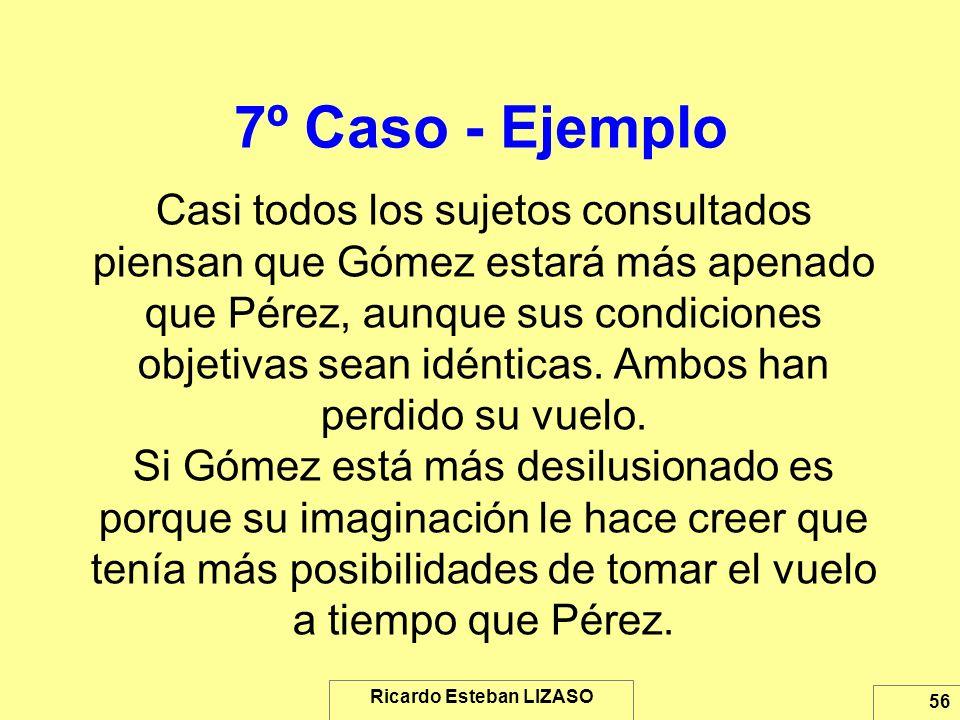 Ricardo Esteban LIZASO 56 7º Caso - Ejemplo Casi todos los sujetos consultados piensan que Gómez estará más apenado que Pérez, aunque sus condiciones