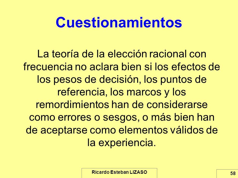 Ricardo Esteban LIZASO 58 Cuestionamientos La teoría de la elección racional con frecuencia no aclara bien si los efectos de los pesos de decisión, lo
