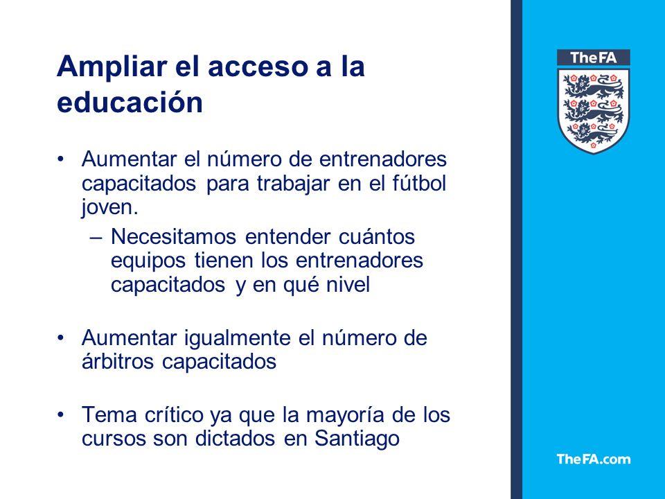 Ampliar el acceso a la educación Aumentar el número de entrenadores capacitados para trabajar en el fútbol joven.