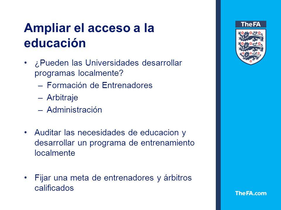 Ampliar el acceso a la educación ¿Pueden las Universidades desarrollar programas localmente.