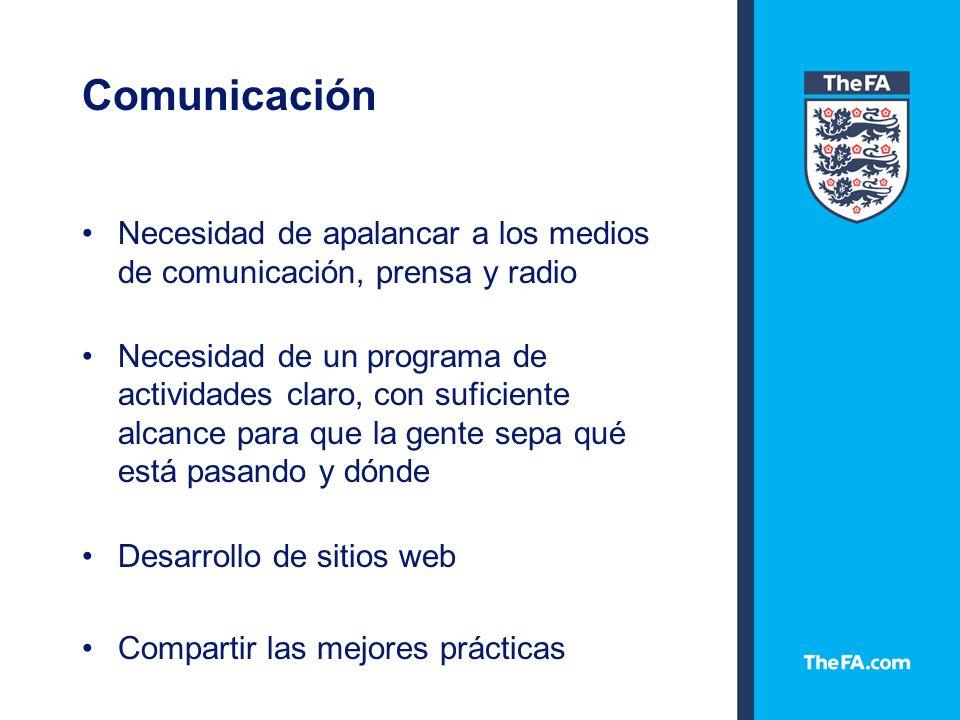 Comunicación Necesidad de apalancar a los medios de comunicación, prensa y radio Necesidad de un programa de actividades claro, con suficiente alcance para que la gente sepa qué está pasando y dónde Desarrollo de sitios web Compartir las mejores prácticas