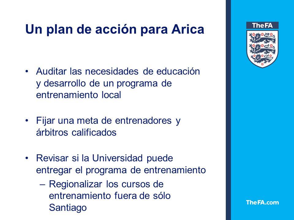 Un plan de acción para Arica Auditar las necesidades de educación y desarrollo de un programa de entrenamiento local Fijar una meta de entrenadores y árbitros calificados Revisar si la Universidad puede entregar el programa de entrenamiento –Regionalizar los cursos de entrenamiento fuera de sólo Santiago