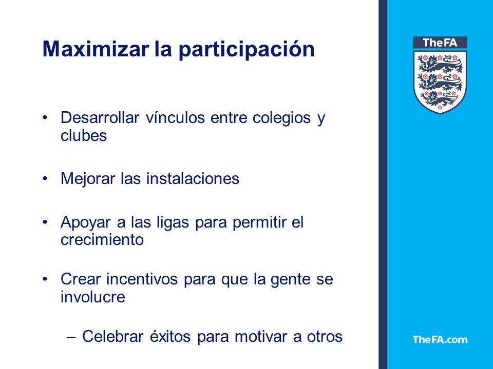 Maximizar la participación ¿Conocemos el número de clubes en cada área.