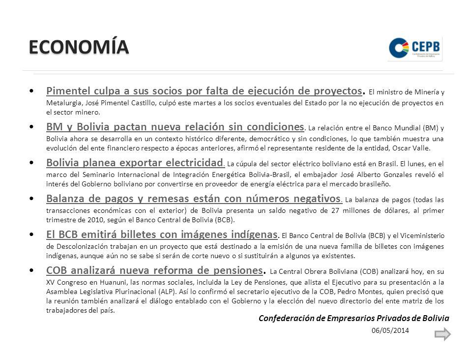 ECONOMÍA Pimentel culpa a sus socios por falta de ejecución de proyectos. El ministro de Minería y Metalurgia, José Pimentel Castillo, culpó este mart