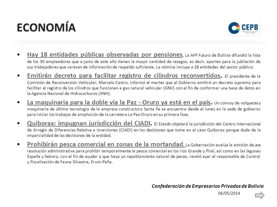 ECONOMÍA Hay 18 entidades públicas observadas por pensiones. La AFP Futuro de Bolivia difundió la lista de los 30 empleadores que a junio de este año