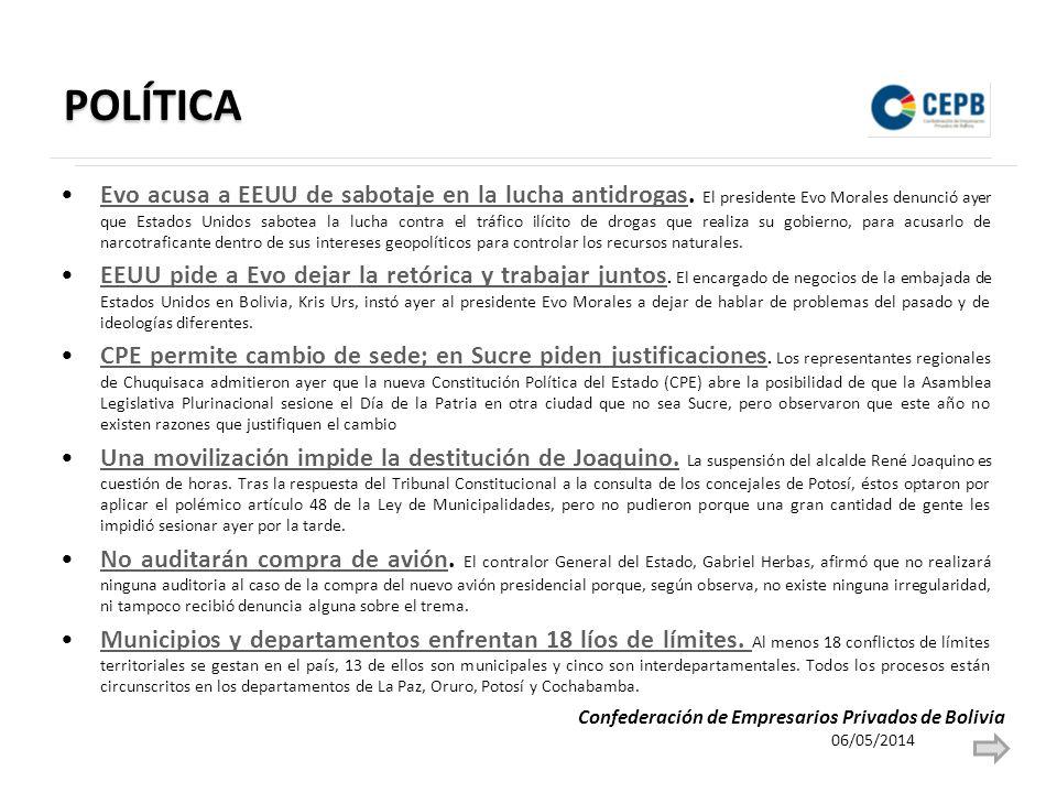 POLÍTICA Evo acusa a EEUU de sabotaje en la lucha antidrogas. El presidente Evo Morales denunció ayer que Estados Unidos sabotea la lucha contra el tr