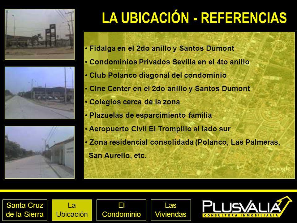 Santa Cruz de la Sierra La Ubicación El Condominio Las Viviendas LA UBICACIÓN - REFERENCIAS Fidalga en el 2do anillo y Santos Dumont Condominios Priva