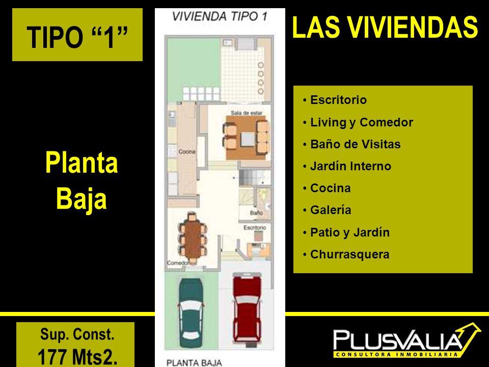 TIPO 1 Planta Baja Escritorio Living y Comedor Baño de Visitas Jardín Interno Cocina Galería Patio y Jardín Churrasquera Sup. Const. 177 Mts2. LAS VIV