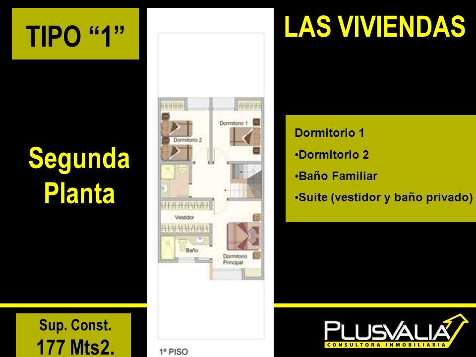 TIPO 1 Segunda Planta Sup. Const. 177 Mts2. LAS VIVIENDAS Dormitorio 1 Dormitorio 2 Baño Familiar Suite (vestidor y baño privado)