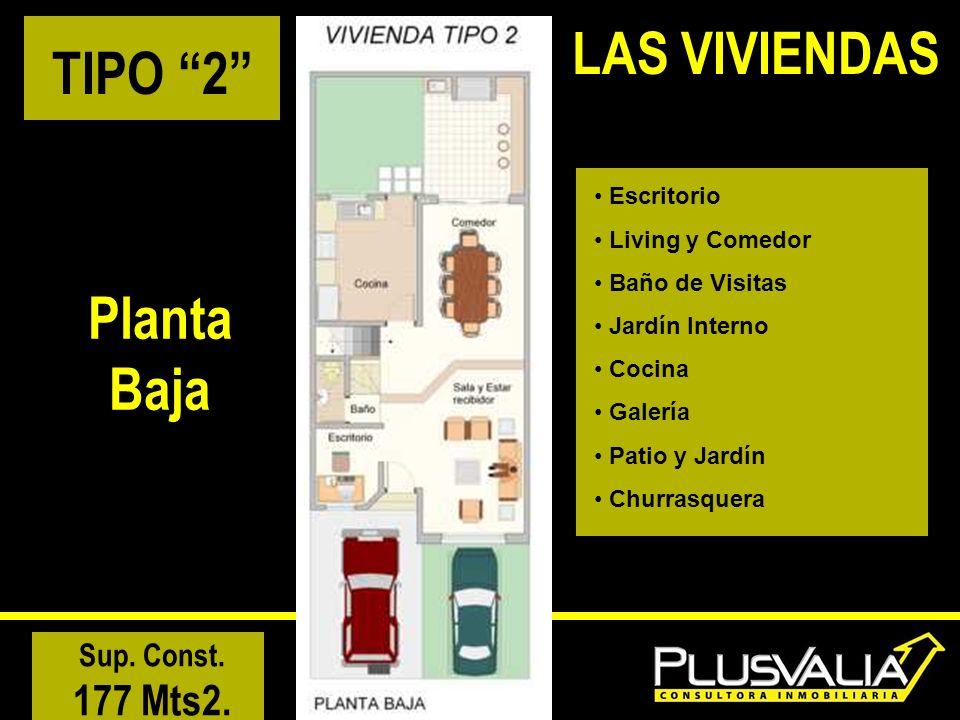 TIPO 2 Planta Baja Escritorio Living y Comedor Baño de Visitas Jardín Interno Cocina Galería Patio y Jardín Churrasquera Sup.