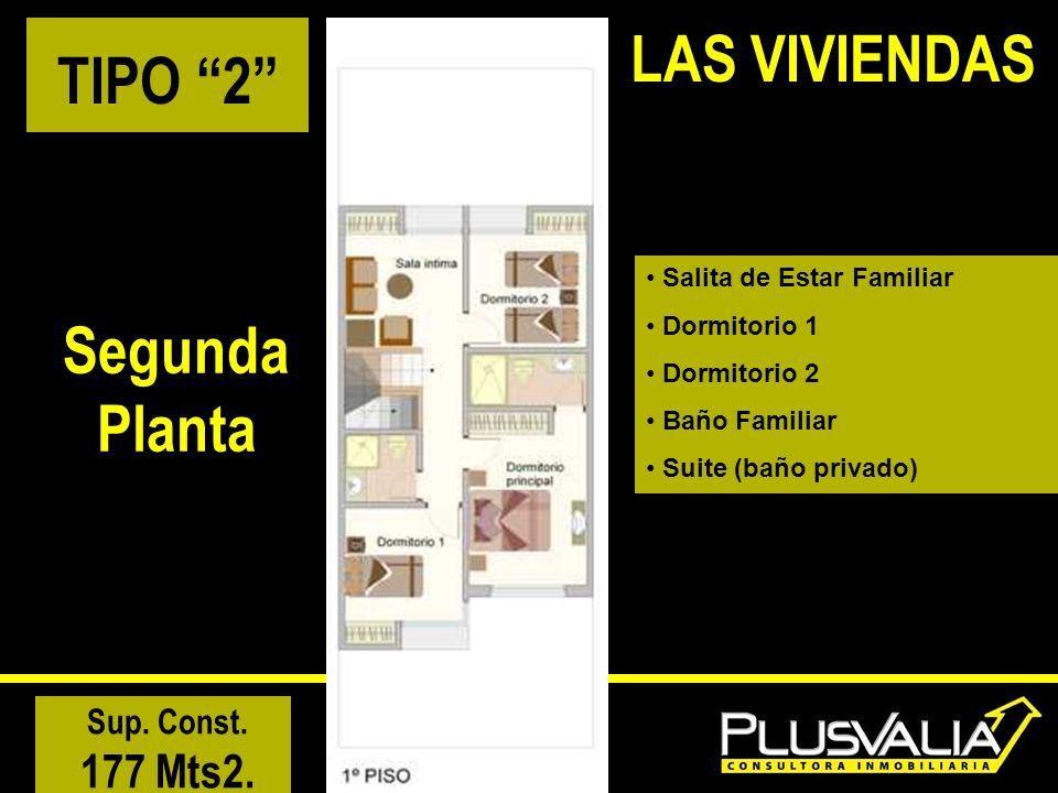 TIPO 2 Segunda Planta Sup. Const. 177 Mts2. LAS VIVIENDAS Salita de Estar Familiar Dormitorio 1 Dormitorio 2 Baño Familiar Suite (baño privado)