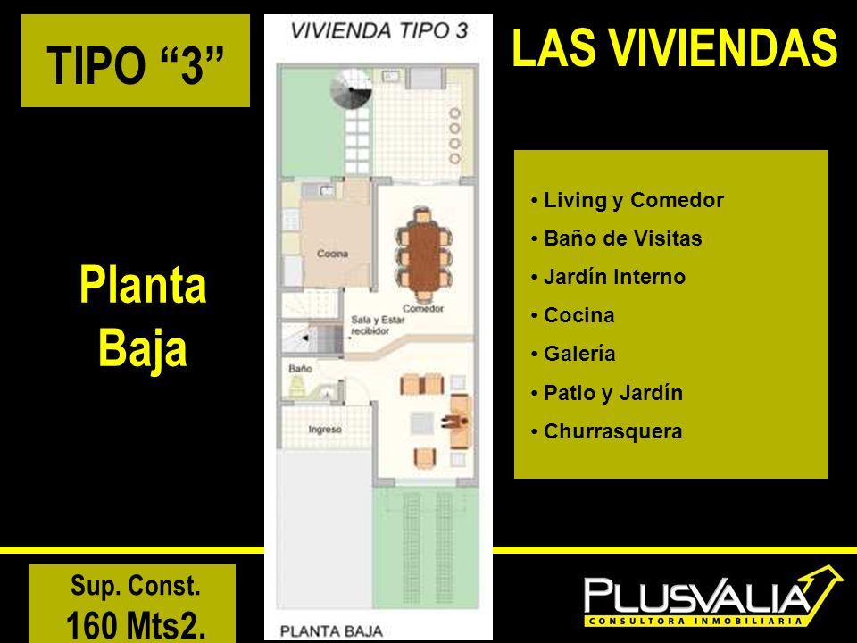 TIPO 3 Planta Baja Living y Comedor Baño de Visitas Jardín Interno Cocina Galería Patio y Jardín Churrasquera Sup. Const. 160 Mts2. LAS VIVIENDAS
