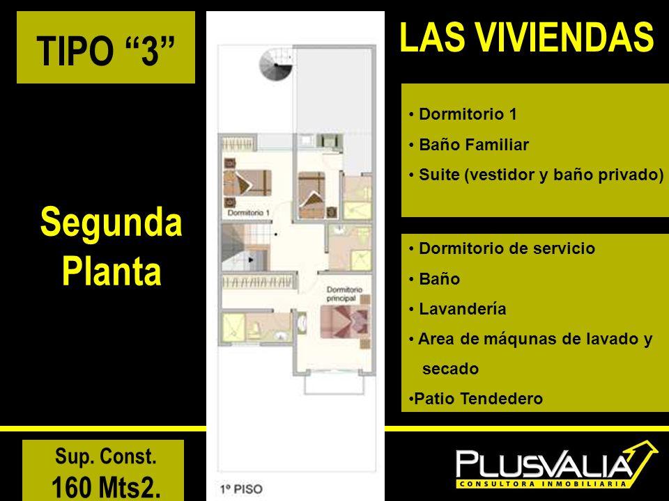 TIPO 3 Segunda Planta Sup. Const. 160 Mts2. LAS VIVIENDAS Dormitorio 1 Baño Familiar Suite (vestidor y baño privado) Dormitorio de servicio Baño Lavan
