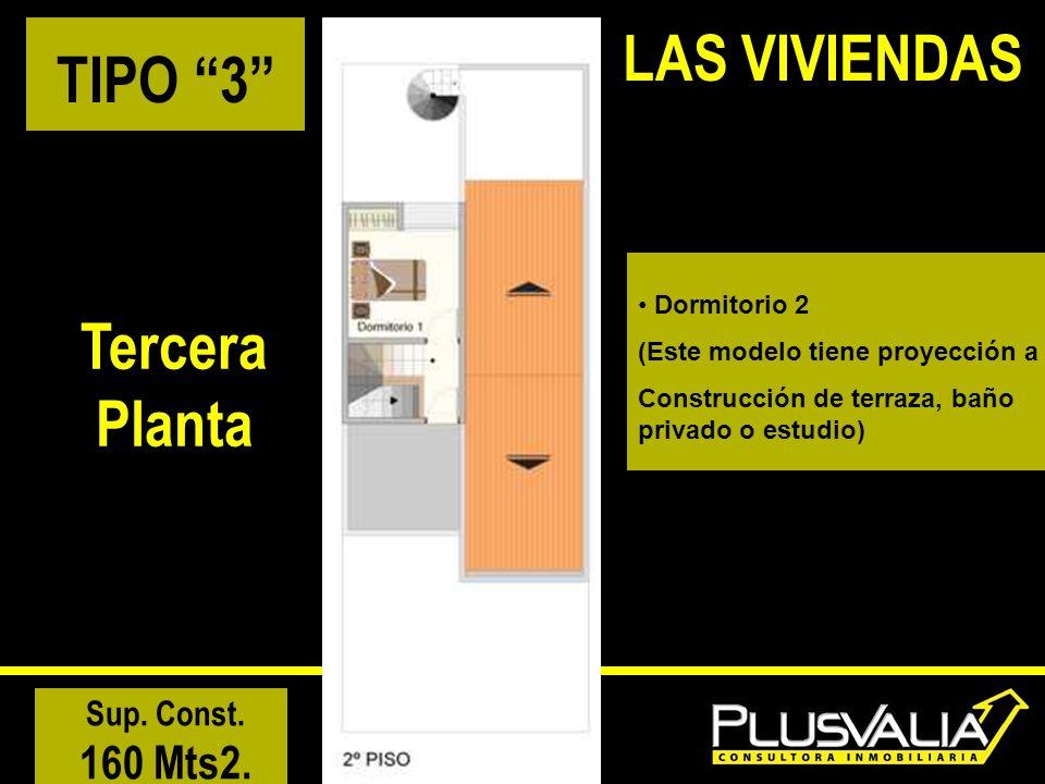 TIPO 3 Tercera Planta Sup. Const. 160 Mts2. LAS VIVIENDAS Dormitorio 2 (Este modelo tiene proyección a Construcción de terraza, baño privado o estudio
