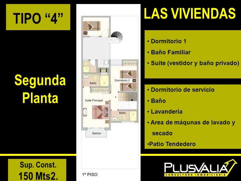 TIPO 4 Segunda Planta Sup. Const. 150 Mts2. LAS VIVIENDAS Dormitorio 1 Baño Familiar Suite (vestidor y baño privado) Dormitorio de servicio Baño Lavan