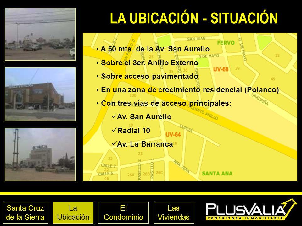 Santa Cruz de la Sierra La Ubicación El Condominio Las Viviendas LA UBICACIÓN - SITUACIÓN A 50 mts. de la Av. San Aurelio Sobre el 3er. Anillo Externo