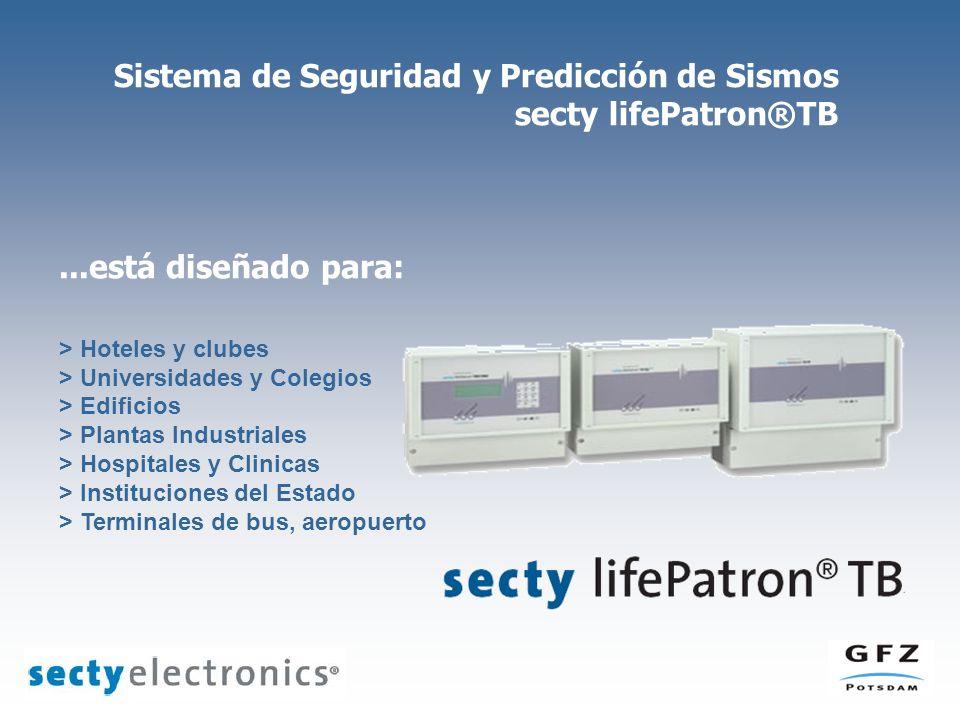 Sistema de Seguridad y Predicción de Sismos secty lifePatron®TB...está diseñado para: > Hoteles y clubes > Universidades y Colegios > Edificios > Plan