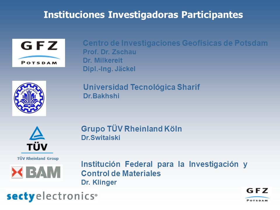 Instituciones Investigadoras Participantes Grupo TÜV Rheinland Köln Dr.Switaiski Centro de Investigaciones Geofísicas de Potsdam Prof. Dr. Zschau Dr.