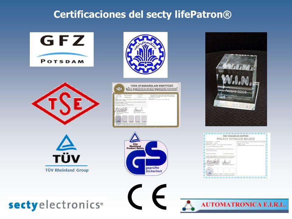 Certificaciones del secty lifePatron® TÜV Rheinland Group