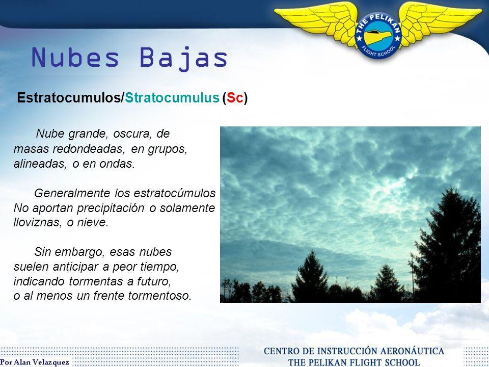 Nubes Bajas Nubes dispuestas horizontalmente, desarrolladas entre 0ft / 6000ft.