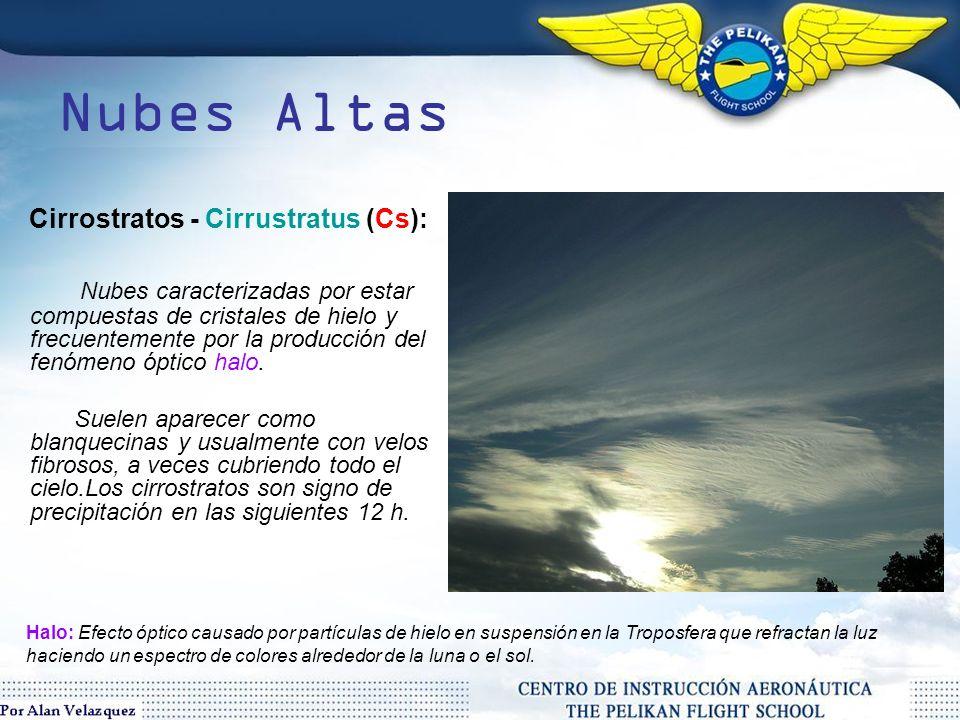 Nubes Altas Nubes dispuestas horizontalmente, desarrolladas sobre los 20.000ft Cirros - Cirrus (Ci): Nube compuesta de cristales de hielo y caracterizado por bandas delgadas, finas, acompañadas por copetes .